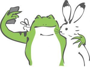 仲良しのウサギとカエル